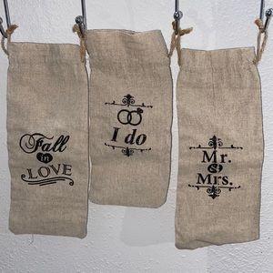 Rustic Wedding Wine Bottle Bags 🍷 🕊